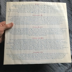 Lovesexy inner sleeve; side one lyrics