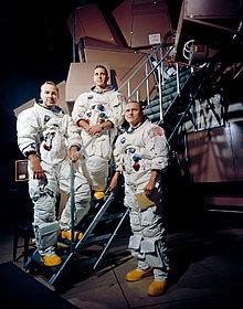 LtoR: Command Module Pilot Frank Lovell, Lunar Module Pilot William Anders, and Commander Frank Borman.